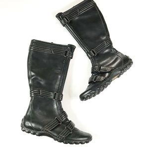 Timberland Black Moto Knee Boots with Buckles 9.5
